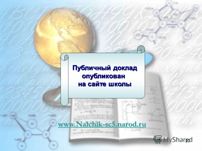 20 Публичный доклад опубликован на сайте школы www.Nalchik-sc5.narod.ru