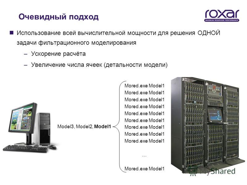 Очевидный подход nИспользование всей вычислительной мощности для решения ОДНОЙ задачи фильтрационного моделирования –Ускорение расчёта –Увеличение числа ячеек (детальности модели) Model3, Model2, Model1 Mored.exe Model1 … Mored.exe Model1