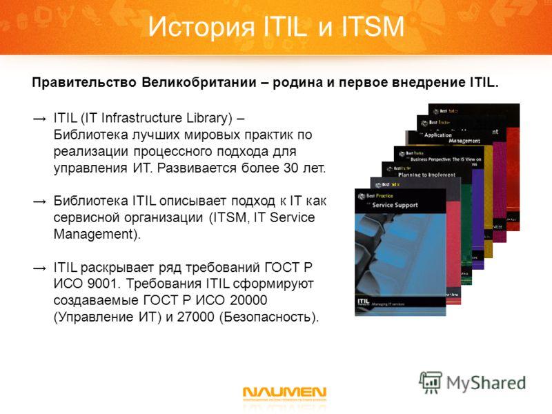 История ITIL и ITSM Правительство Великобритании – родина и первое внедрение ITIL. ITIL (IT Infrastructure Library) – Библиотека лучших мировых практик по реализации процессного подхода для управления ИТ. Развивается более 30 лет. Библиотека ITIL опи