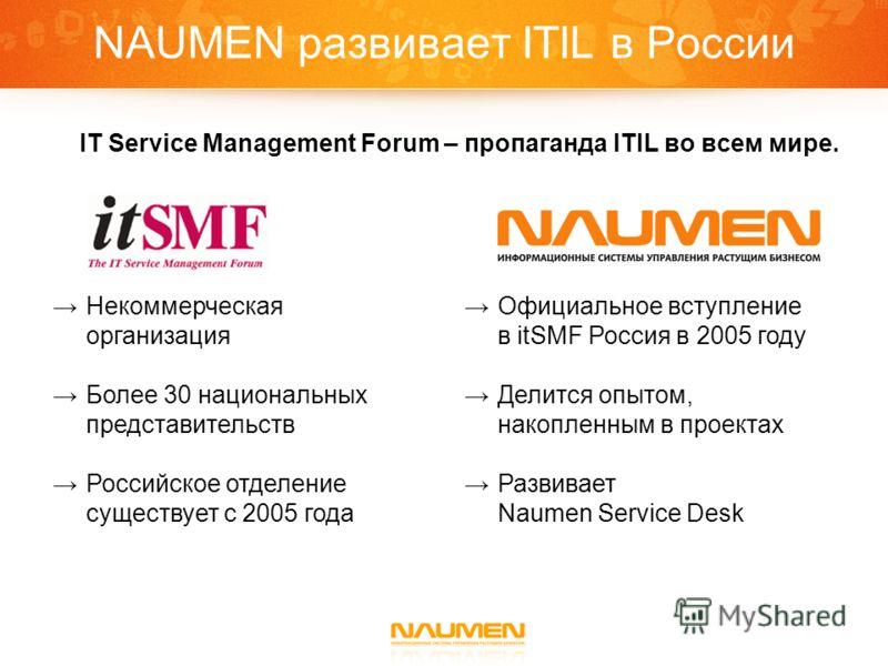 NAUMEN развивает ITIL в России IT Service Management Forum – пропаганда ITIL во всем мире. Некоммерческая организация Более 30 национальных представительств Российское отделение существует с 2005 года Официальное вступление в itSMF Россия в 2005 году