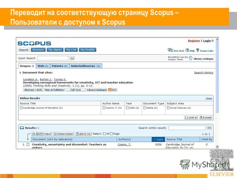 Переводит на соответствующую страницу Scopus – Пользователи с доступом к Scopus