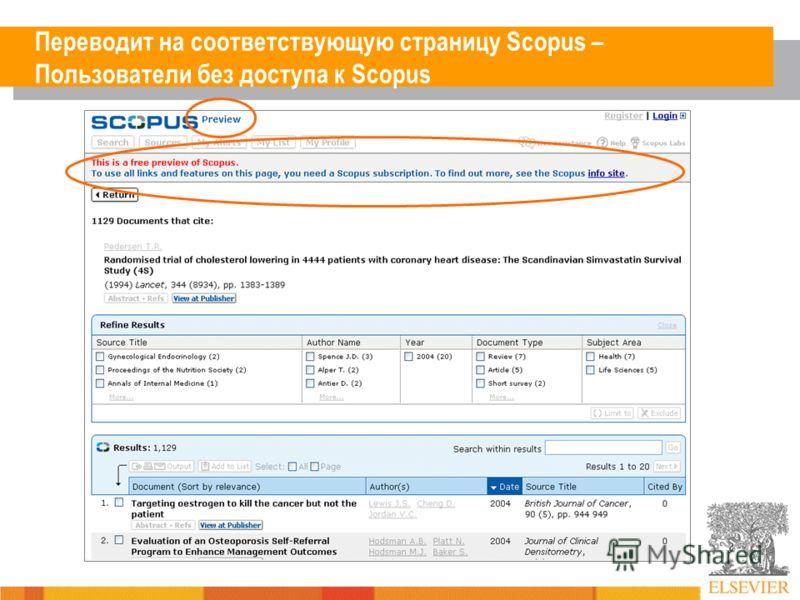 Переводит на соответствующую страницу Scopus – Пользователи без доступа к Scopus