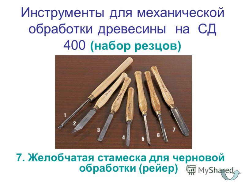 Инструменты для механической обработки древесины на СД 400 (набор резцов) 7. Желобчатая стамеска для черновой обработки (рейер)