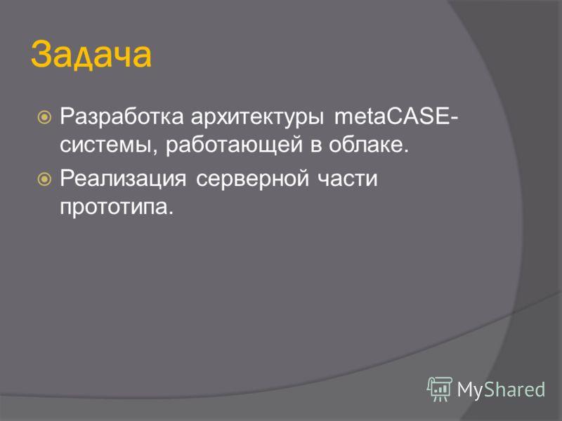 Задача Разработка архитектуры metaCASE- системы, работающей в облаке. Реализация серверной части прототипа.