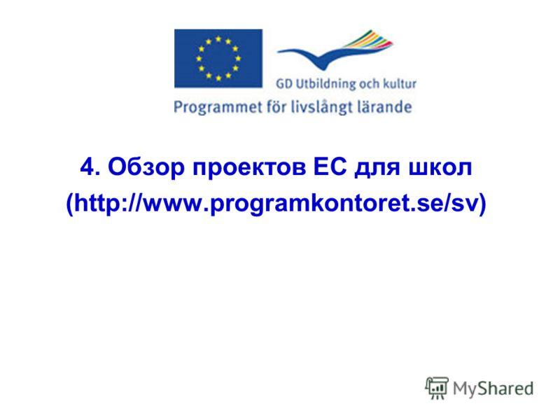 4. Обзор проектов ЕС для школ (http://www.programkontoret.se/sv)