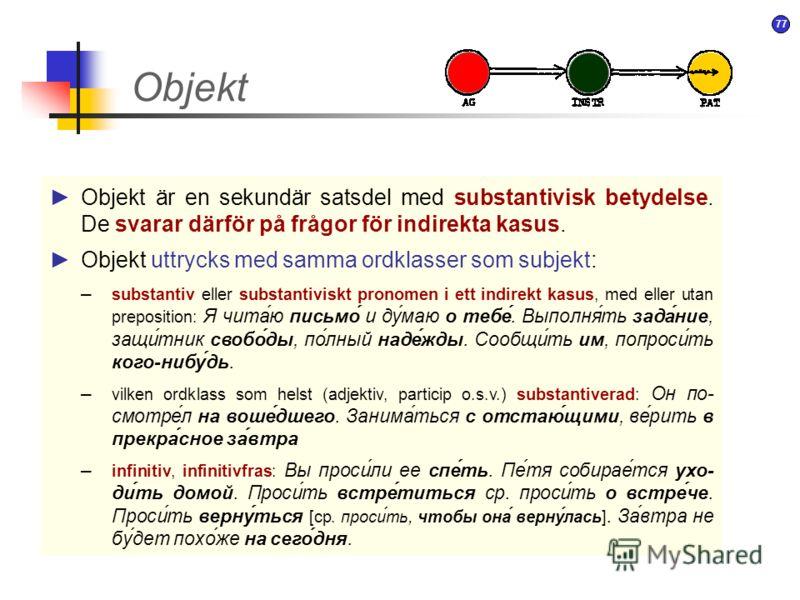 76 Objekt OBJEKT är participanter i en situation – aktanter (utom den mest framträdande deltagaren som traditionellt kallas SUBJEKT ). Objekt uttrycks alltid med nominalfraser vars huvudord prototypiskt är ett substantiv men i princip kan tillhöra vi