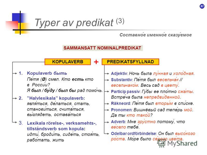 86 Typer av predikat (2) SAMMANSATT VERBPREDIKAT Составное глагольное сказуемое HJÄLPORDINFINITIV + 1.Fasverb начать, стать, принимать, продолжать, перестать, кончать 2.Modala hjälpord modalverb: мочь, хотеть, уметь, мечтать kopulaverb + adjektiv i k