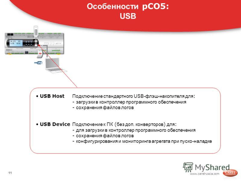 www.carelrussia.com. USB Host Подключение стандартного USB-флэш-накопителя для : - загрузки в контроллер программного обеспечения - сохранения файлов логов USB Device Подключение к ПК ( без доп. конверторов ) для : - для загрузки в контроллер програм