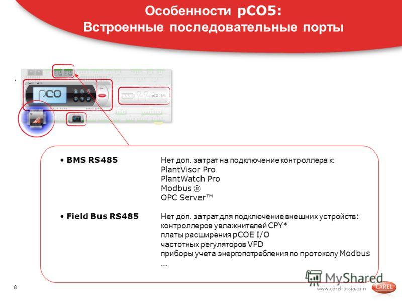 www.carelrussia.com. Особенности pCO5: Встроенные последовательные порты BMS RS485 Нет доп. затрат на подключение контроллера к: PlantVisor Pro PlantWatch Pro Modbus ® OPC Server Field Bus RS485 Нет доп. затрат для подключение внешних устройств : кон