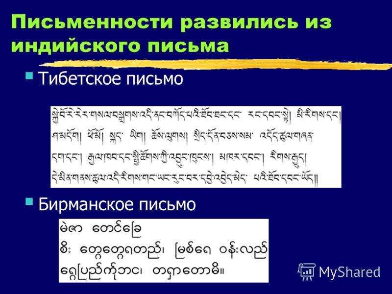 Письменности развились из индийского письма Тибетское письмо Бирманское письмо