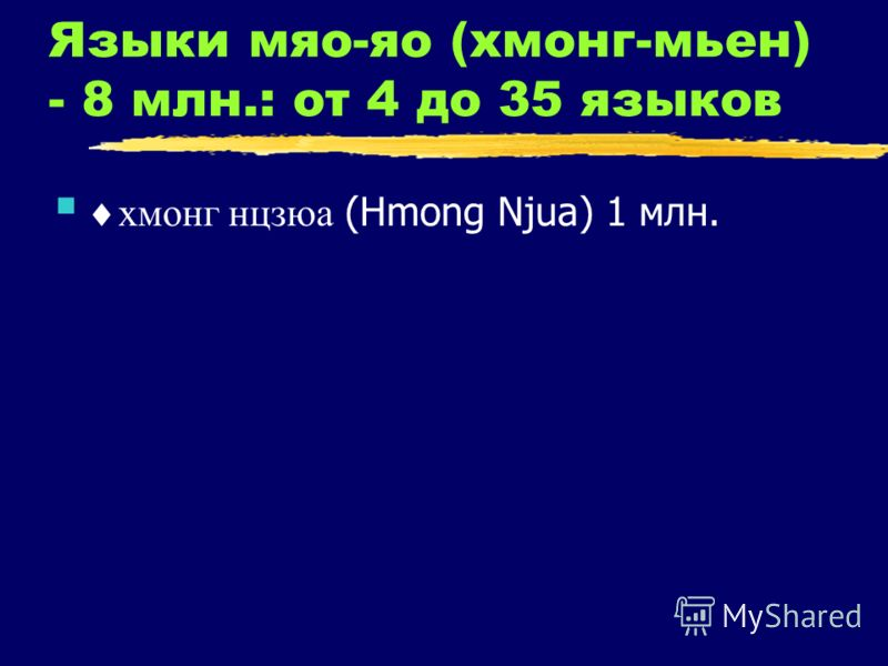 Языки мяо-яо (хмонг-мьен) - 8 млн.: от 4 до 35 языков хмонг нцзюа (Hmong Njua) 1 млн.