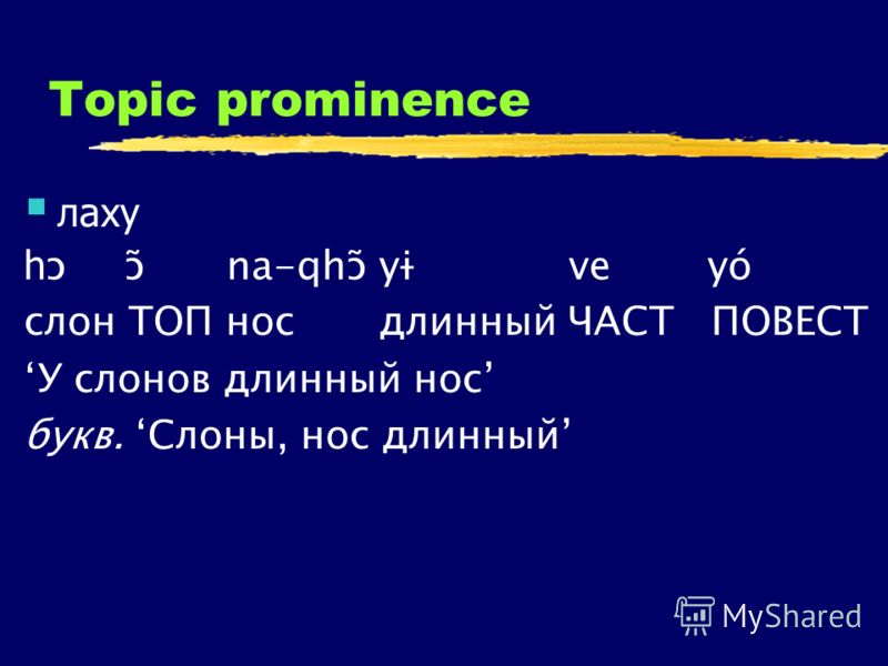 Topic prominence лаху h ɔ ɔ̃ na-qhɔ̃yɨ ve yó слон ТОП носдлинный ЧАСТ ПОВЕСТ У слонов длинный нос букв. Слоны, нос длинный