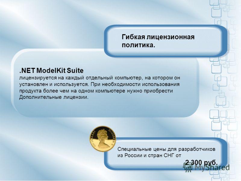Гибкая лицензионная политика..NET ModelKit Suite лицензируется на каждый отдельный компьютер, на котором он установлен и используется. При необходимости использования продукта более чем на одном компьютере нужно приобрести Дополнительные лицензии. Сп