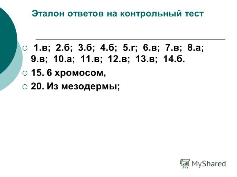 Эталон ответов на контрольный тест 1.в; 2.б; 3.б; 4.б; 5.г; 6.в; 7.в; 8.а; 9.в; 10.а; 11.в; 12.в; 13.в; 14.б. 15. 6 хромосом, 20. Из мезодермы;