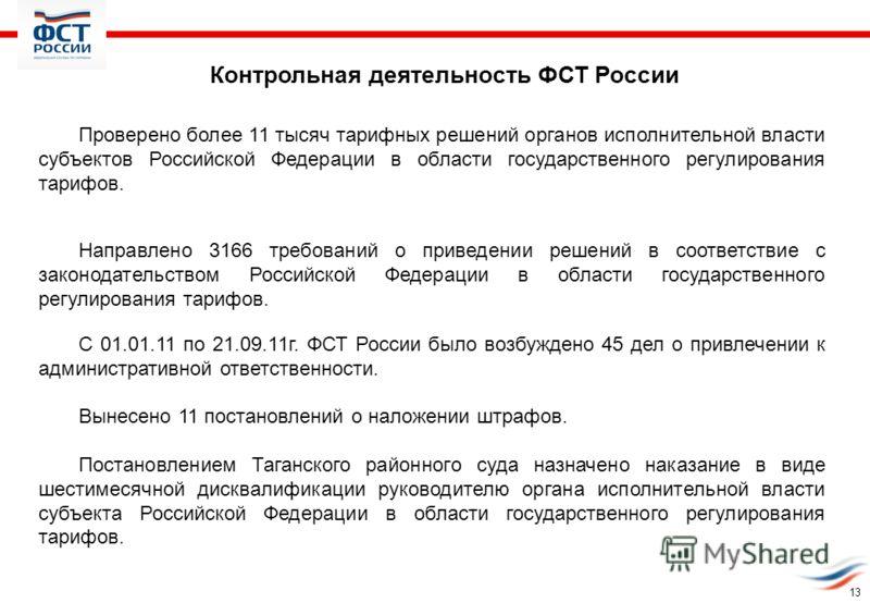 Контрольная деятельность ФСТ России Проверено более 11 тысяч тарифных решений органов исполнительной власти субъектов Российской Федерации в области государственного регулирования тарифов. Направлено 3166 требований о приведении решений в соответстви