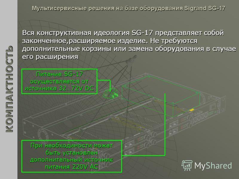 Вся конструктивная идеология SG-17 представляет собой законченное,расширяемое изделие. Не требуются дополнительные корзины или замена оборудования в случае его расширения КОМПАКТНОСТЬ Мультисервисные решения на базе оборудования Sigrand SG-17 Питание