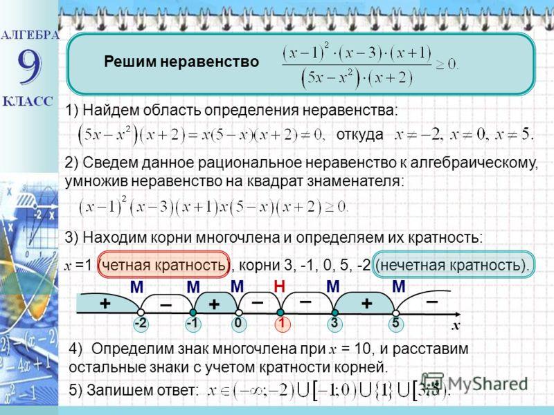 + – + – – + – МНММ ММ Решим неравенство 1) Найдем область определения неравенства: откуда 2) Сведем данное рациональное неравенство к алгебраическому, умножив неравенство на квадрат знаменателя: 3) Находим корни многочлена и определяем их кратность: