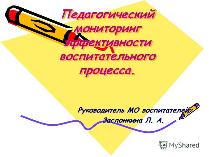 Педагогический мониторинг эффективности воспитательного процесса. Руководитель МО воспитателей Заслонкина Л. А.