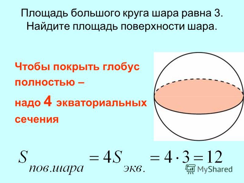 Площадь большого круга шара равна 3. Найдите площадь поверхности шара. Чтобы покрыть глобус полностью – надо 4 экваториальных сечения