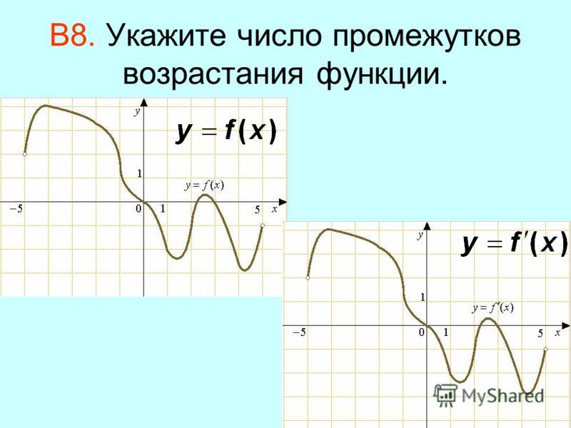 В8. Укажите число промежутков возрастания функции.