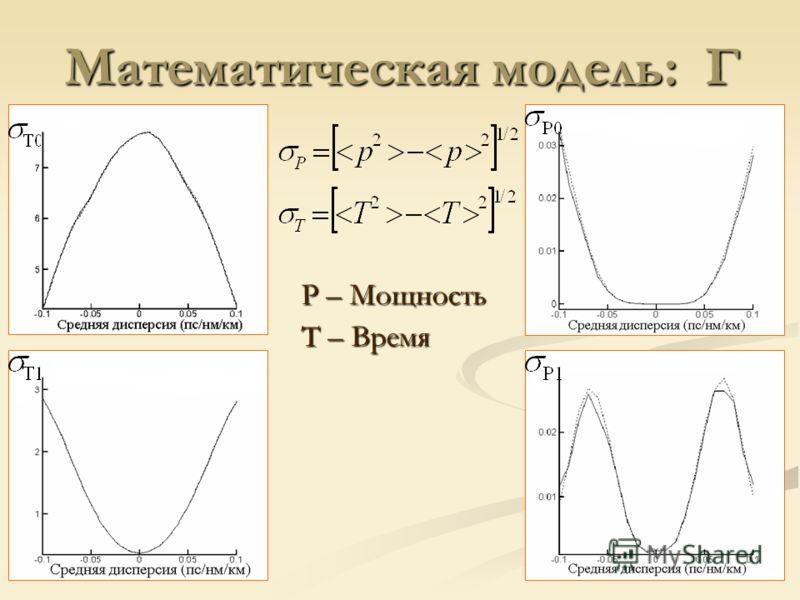 P – Мощность T – Время Математическая модель: Г