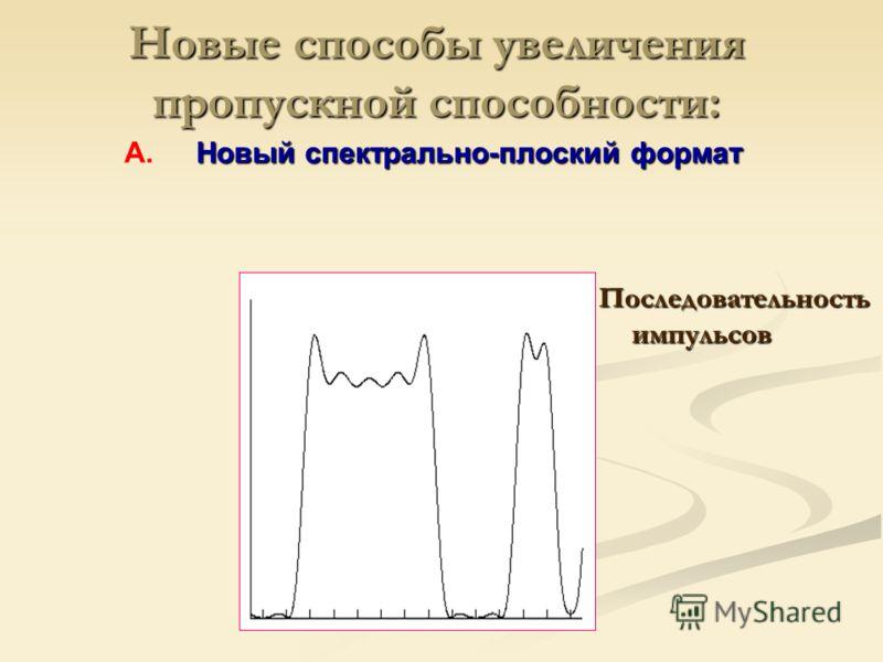 Последовательность импульсов Новые способы увеличения пропускной способности: Новый спектрально-плоский формат А.Новый спектрально-плоский формат