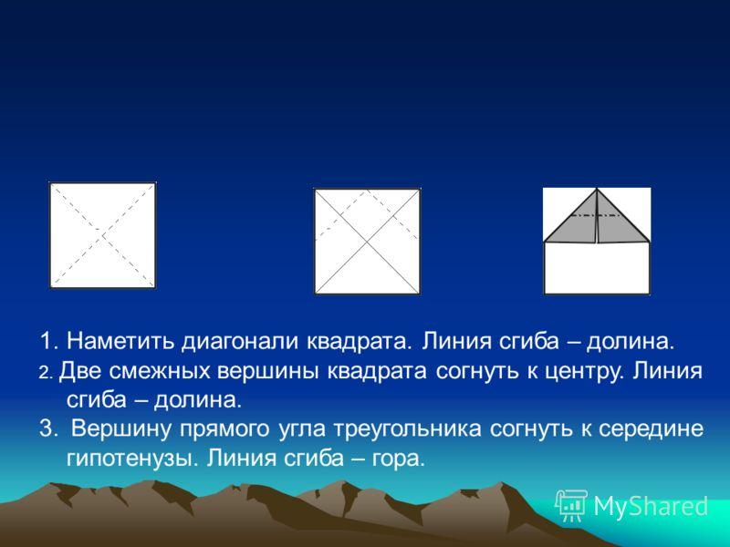1.Наметить диагонали квадрата. Линия сгиба – долина. 2. Две смежных вершины квадрата согнуть к центру. Линия сгиба – долина. 3. Вершину прямого угла треугольника согнуть к середине гипотенузы. Линия сгиба – гора.