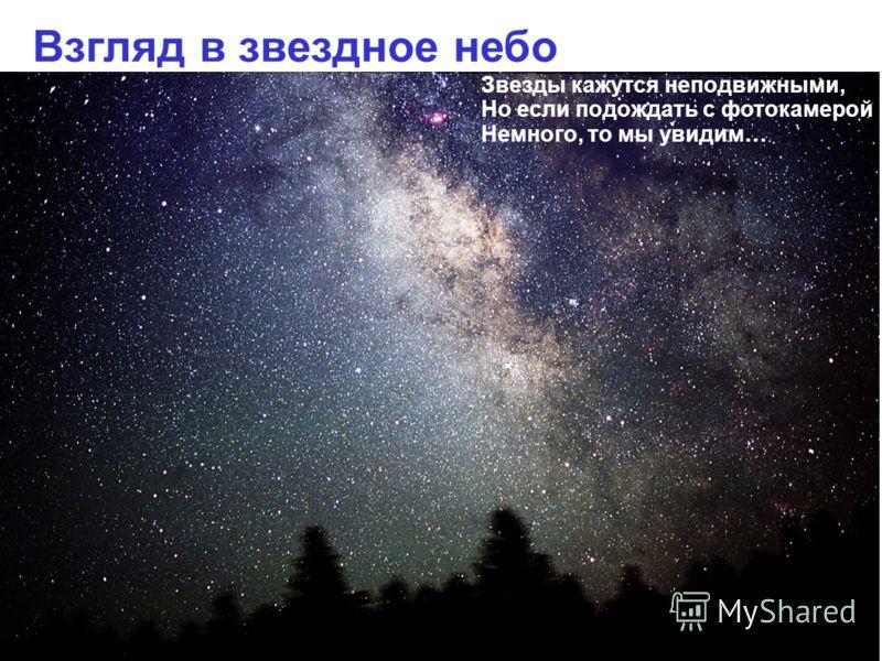 Взгляд в звездное небо Звезды кажутся неподвижными, Но если подождать с фотокамерой Немного, то мы увидим…
