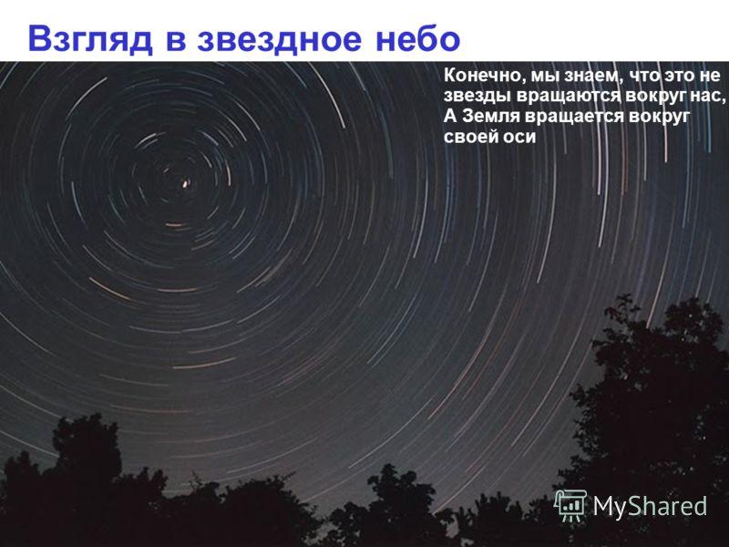 Взгляд в звездное небо Конечно, мы знаем, что это не звезды вращаются вокруг нас, А Земля вращается вокруг своей оси