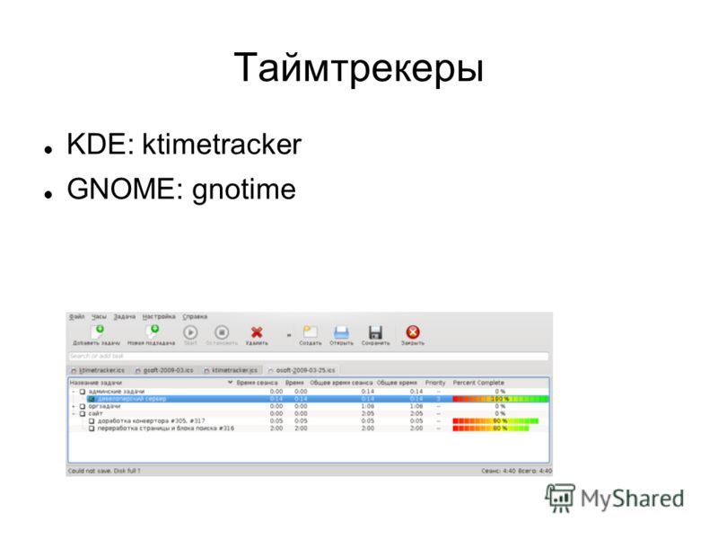Таймтрекеры KDE: ktimetracker GNOME: gnotime