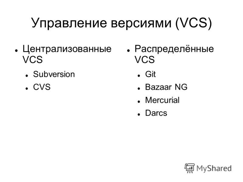 Управление версиями (VCS) Централизованные VCS Subversion CVS Распределённые VCS Git Bazaar NG Mercurial Darcs