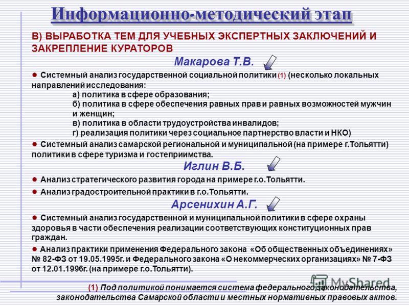 Информационно - методический этап В) ВЫРАБОТКА ТЕМ ДЛЯ УЧЕБНЫХ ЭКСПЕРТНЫХ ЗАКЛЮЧЕНИЙ И ЗАКРЕПЛЕНИЕ КУРАТОРОВ Макарова Т.В. Системный анализ государственной социальной политики (1) (несколько локальных направлений исследования: а) политика в сфере обр