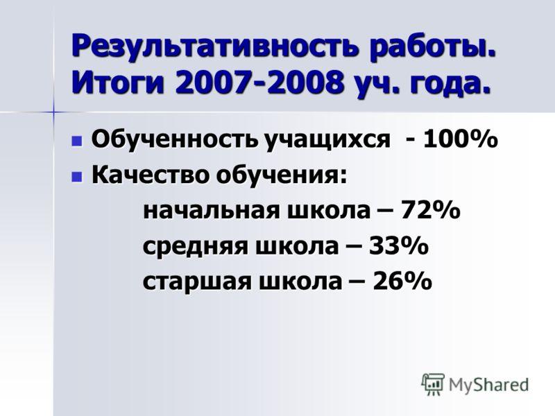 Результативность работы. Итоги 2007-2008 уч. года. Обученность учащихся - 100% Обученность учащихся - 100% Качество обучения: Качество обучения: начальная школа – 72% начальная школа – 72% средняя школа – 33% средняя школа – 33% старшая школа – 26% с