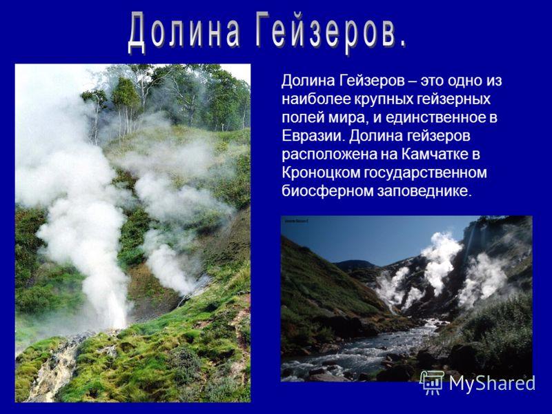 Долина Гейзеров – это одно из наиболее крупных гейзерных полей мира, и единственное в Евразии. Долина гейзеров расположена на Камчатке в Кроноцком государственном биосферном заповеднике.