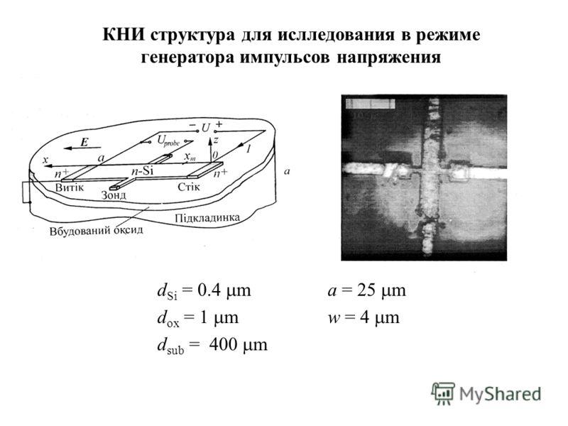 d Si = 0.4 ma = 25 m d ox = 1 m w = 4 m d sub = 400 m КНИ структура для ислледования в режиме генератора импульсов напряжения