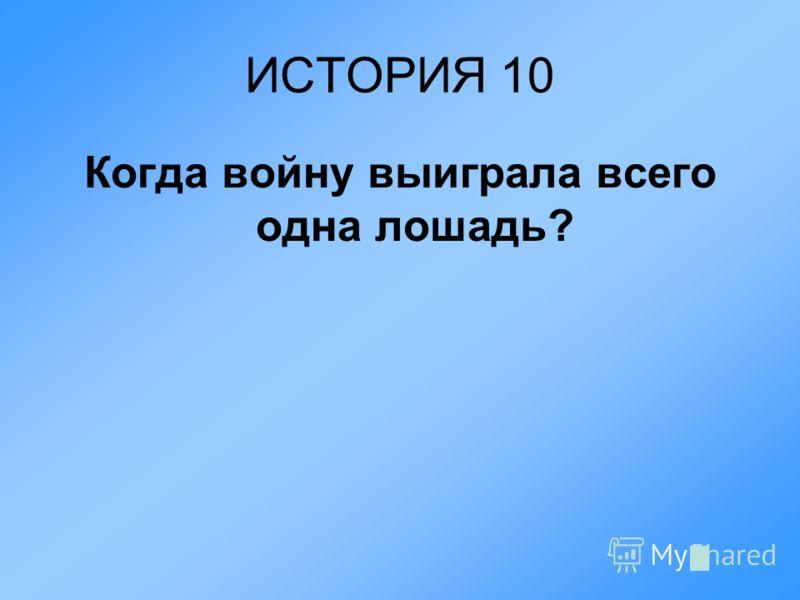 ИСТОРИЯ 10 Когда войну выиграла всего одна лошадь?