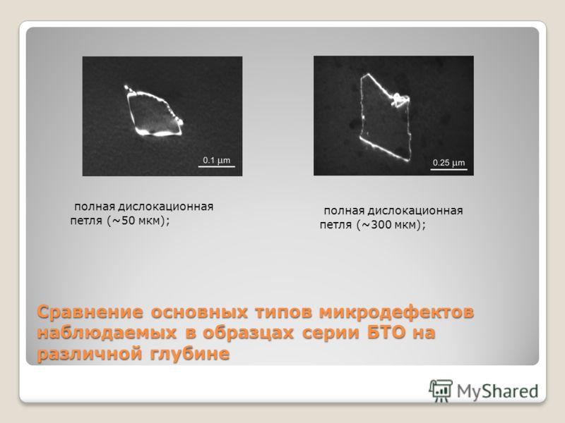 ж)з) Сравнение основных типов микродефектов наблюдаемых в образцах серии БТО на различной глубине полная дислокационная петля (~50 мкм); полная дислокационная петля (~300 мкм);