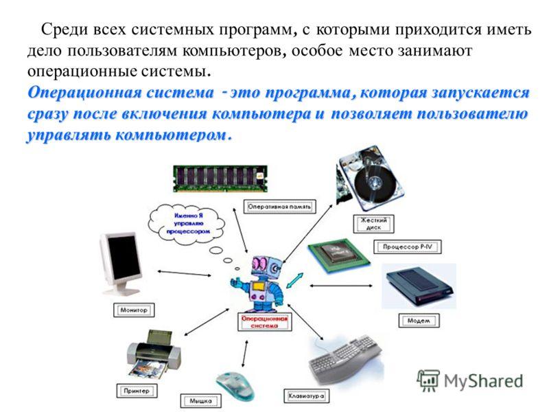 Операционная система - это программа, которая запускается сразу после включения компьютера и позволяет пользователю управлять компьютером. Среди всех системных программ, с которыми приходится иметь дело пользователям компьютеров, особое место занимаю