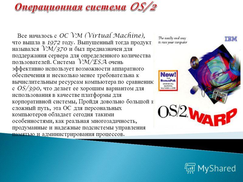 Все началось с OC VM (Virtual Machine), что вышла в 1972 году. Выпущенный тогда продукт назывался VM/370 и был предназначен для поддержания сервера для определенного количества пользователей. Система VM/ESA очень эффективно использует возможности апп