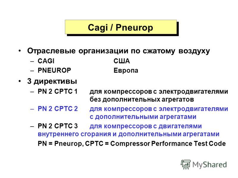 Cagi / Pneurop Отраслевые организации по сжатому воздуху –CAGIСША –PNEUROPЕвропа 3 директивы –PN 2 CPTC 1 для компрессоров с электродвигателями без дополнительных агрегатов –PN 2 CPTC 2 для компрессоров с электродвигателями с дополнительными агрегата
