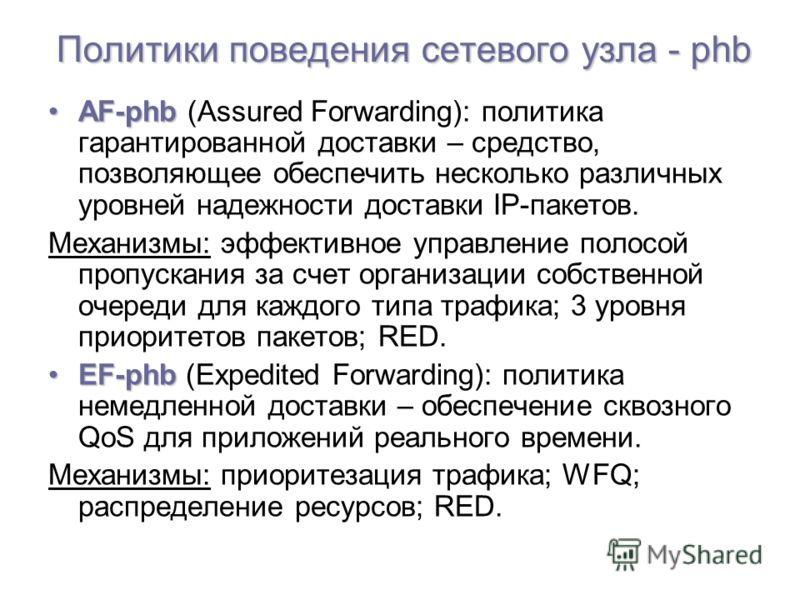 Политики поведения сетевого узла - phb AF-phbAF-phb (Assured Forwarding): политика гарантированной доставки – средство, позволяющее обеспечить несколько различных уровней надежности доставки IP-пакетов. Механизмы: эффективное управление полосой пропу