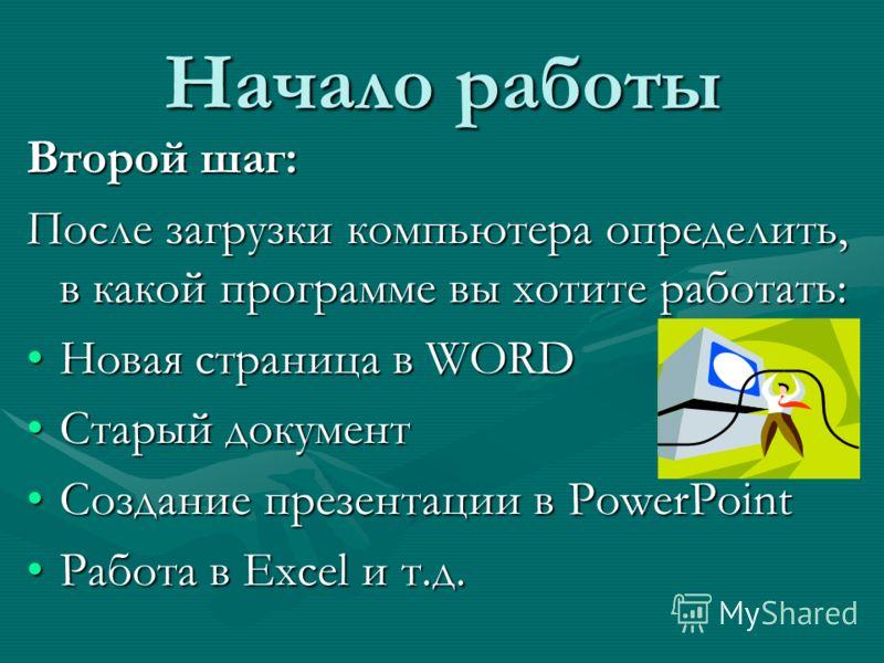Начало работы Второй шаг: После загрузки компьютера определить, в какой программе вы хотите работать: Новая страница в WORDНовая страница в WORD Старый документСтарый документ Создание презентации в PowerPointСоздание презентации в PowerPoint Работа