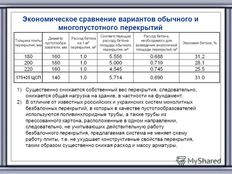 Экономическое сравнение вариантов обычного и многопустотного перекрытий 1)Существенно снижается собственный вес перекрытия, следовательно, снижается общая нагрузка на здание, в частности на фундамент. 2)В отличие от известных российских и украинских