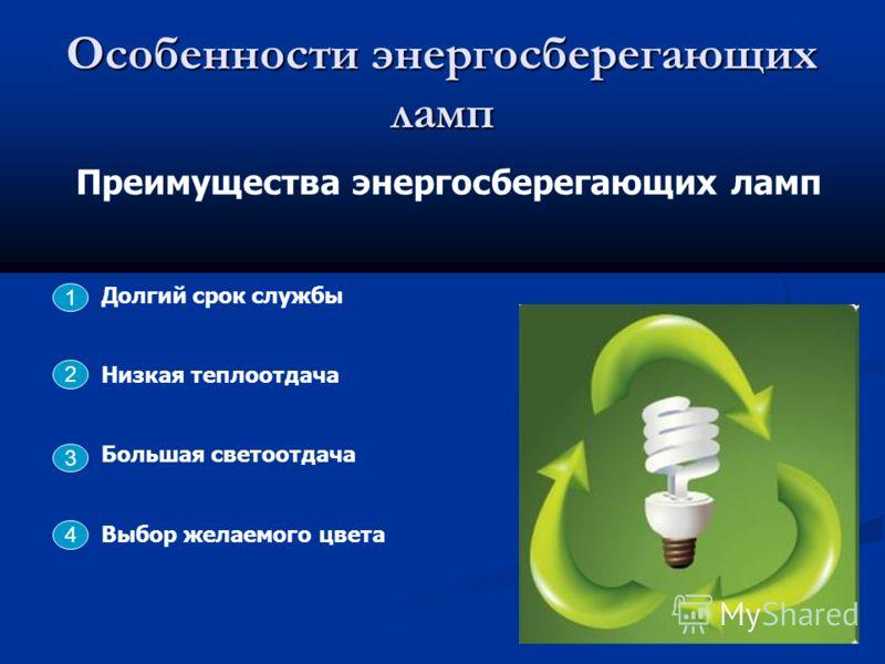 Особенности энергосберегающих ламп Преимущества энергосберегающих ламп Долгий срок службы Низкая теплоотдача Большая светоотдача Выбор желаемого цвета 2 3 4 1