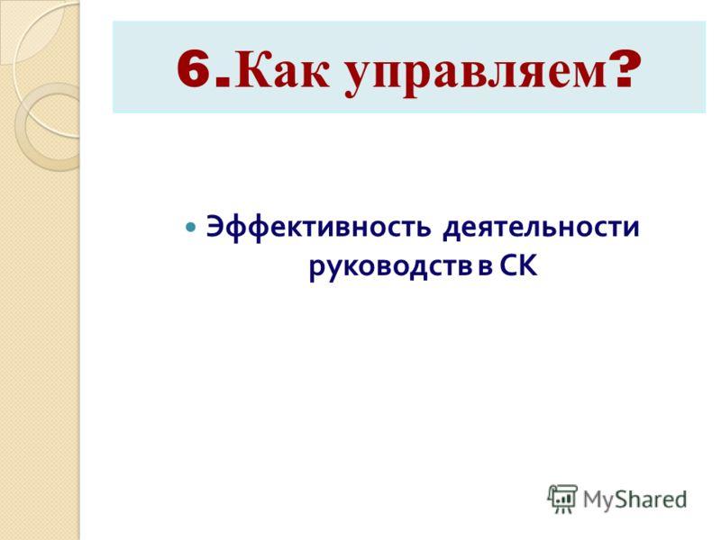 6. Как управляем ? Эффективность деятельности руководств в СК