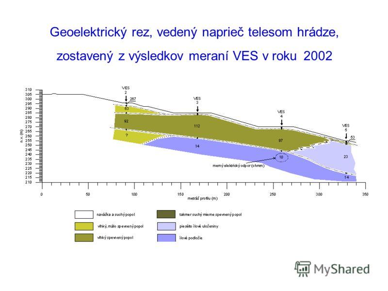 Geoelektrický rez, vedený naprieč telesom hrádze, zostavený z výsledkov meraní VES v roku 2002