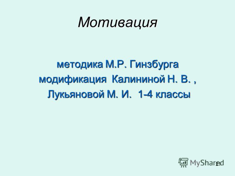 21 Мотивация методика М.Р. Гинзбурга модификация Калининой Н. В., Лукьяновой М. И. 1-4 классы Лукьяновой М. И. 1-4 классы