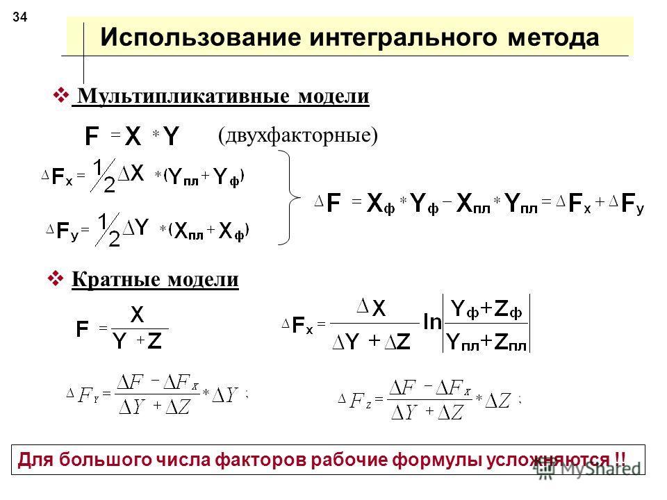 Интегральный метод Результаты влияния факторов не зависят от последовательности замены факторов Дополнительное изменение результирующего показателя от взаимодействия факторов между собой раскладывается пропорционально изолированному воздействию на ре