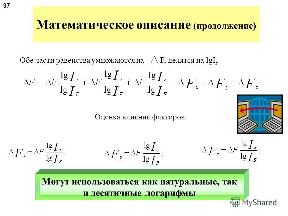 Математическое описание метода 1.F = X * Y * Z, логарифмируются обе части равенства 2.lg F = lg X + lg Y + lg Z 3.lg( )= lg( ) + lg ( ) + lg ( ) 4.lg I F = lg I X + lg I Y + lg I Z Между индексами изменения показателей сохраняется та же зависимость,