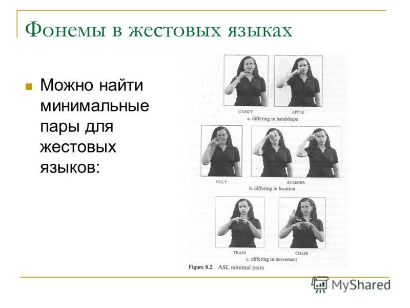 Фонемы в жестовых языках Можно найти минимальные пары для жестовых языков:
